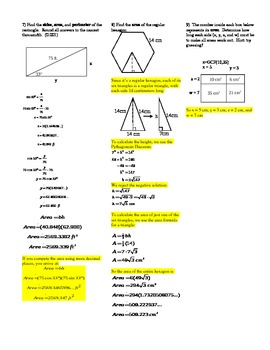Using Formulas for Volume and Surface Area Forwards and Backwards -w/ Answer Key