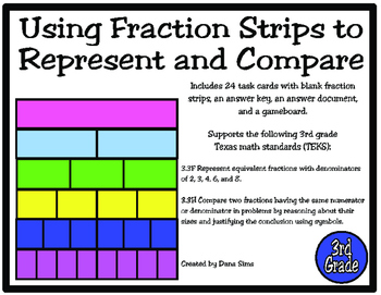 Using Fraction Strips to Represent and Compare (TEKS 3.3F and 3.3H)