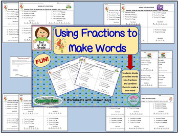 Using Fractions to Make Words! Fun Math Center or Use for Early Finishers, G/T
