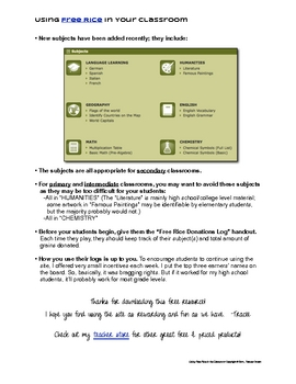 Free Using FreeRice.com in Your Classroom: Student Log