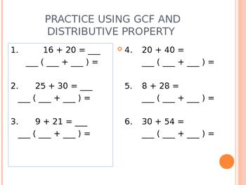 Using GCF to show distributive property GO
