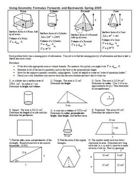 Using Geometry Formulas Forwards and Backwards Spring 2009