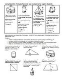 Using Geometry Formulas Forwards and Backwards for Algebra students (Editable)