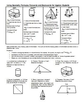 Using Geometry Formulas Forwards and Backwards for Algebra students (Editable)