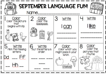 Using Google or Power Point Slides for Fun Filled September Language Activities!