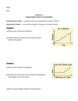 Using Graphs to Relate Quantities Notes and Homework