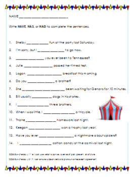 Has Have Had Worksheets Worksheets for all | Download and Share ...
