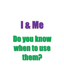 Using I & Me Worksheet