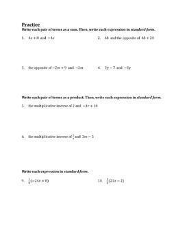 Write Equivalent Expressions Using Identity and Inverse Worksheet