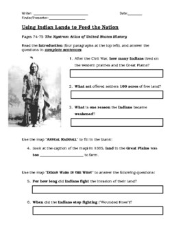 Using Indian Lands to Feed the Nation (Sheltered English)