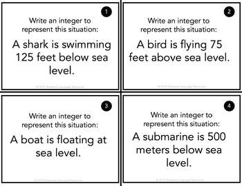 Using Integers in Real Life Situations Task Cards
