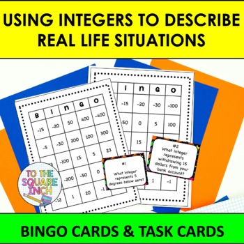 Using Integers to Describe Real Life Situations BINGO