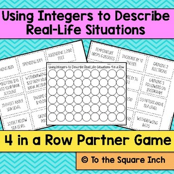 Using Integers to Describe Real Life Situations Game