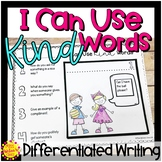 Using Kind Words Flap Book | Differentiated Writing | Special Education Resource