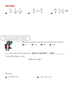 Using LCD to solve rational equations with fractions and decimals