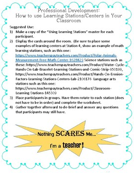 Using Learning Stations in the Classroom Inservice Hands-On Teacher Training