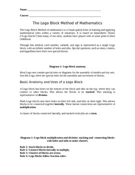 Using Lego Blocks to Teach Basic and Advanced Mathematics