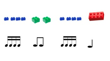 Using Legos to teach Rhythmic Notation (quarters, eighths and sixteenths)