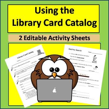 Using Library Card Catalog  *2 Editable Reproducibles