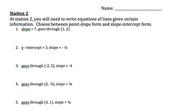 Using Linear Equations to Graph and Writing Equations of Lines Stations