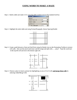 Using MSWord and Tables to make a Maze