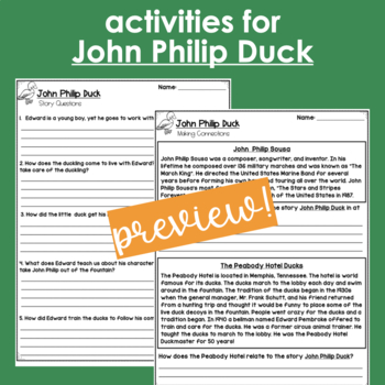 Using Make Way for Ducklings and John Philip Duck to Teach Comprehension