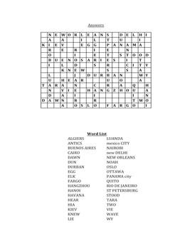 Using Map Coordinates Crossword Puzzle