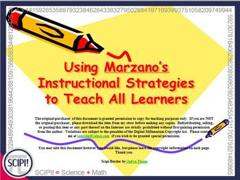 Using Marzano's Strategies to Teach All Learners - A Power Point for Instructors