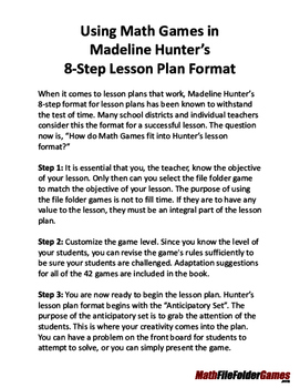 Using Math Games in Madeline Hunter's 8-Step Lesson Plan Format