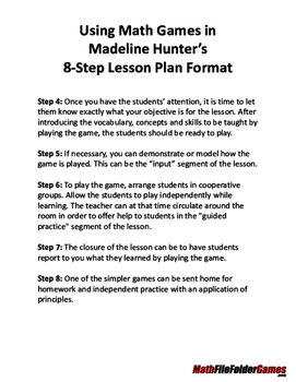 Using Math Games In Madeline Hunters Step Lesson Plan Format TpT - 8 step lesson plan template
