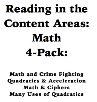 Reading in the Content Areas:  Using Math in the Real World 4 Pack