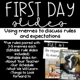 Using Memes to go over Classroom Rules- First Day of School PowerPoint