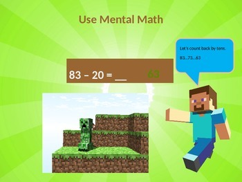 Using Mental Math to Subtract Tens PowerPoint (Minecraft Theme)