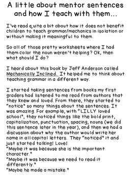 Using Mentor Sentences to Teach Grammar and Mechanics