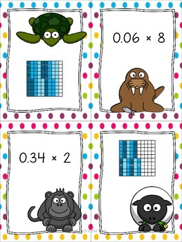 Using Models: Multiplying Decimals by Whole Numbers Math Center Activity