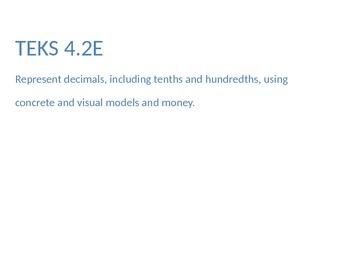Using Models to represent decimals, Math TEKS 4.2E, Word Wall & Vocab Slides