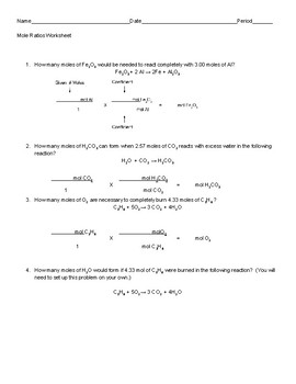 Using Mole Ratios Stoichiometry Worksheet by Sadler Science | TpT