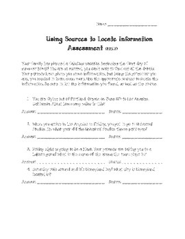 Common Core Using Multiple Sources to Locate Information Assessment