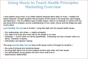 Love the Way You Lie -- Using Music to Teach Health Concepts