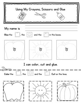 Using My School Supplies Readiness and Assessment Activities
