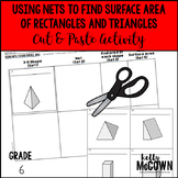 Using Nets to Find Surface Area Rectangles & Triangles Cut & Paste Activity