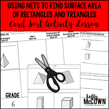 Using Nets to Find Surface Area Rectangles & Triangles Card Sort Activity Lesson