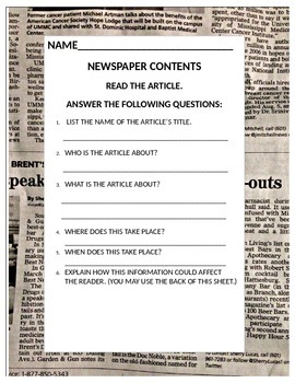 Using Newspapers to Improve Comprehension Worksheet