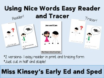 Using Nice Words Easy Reader/Tracer Book