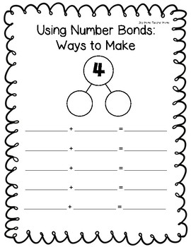 Using Number Bonds: Ways to Make Numbers 1-10