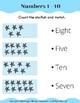 Number Sense. Counting Numbers 1 - 10. Kindergarten Math.