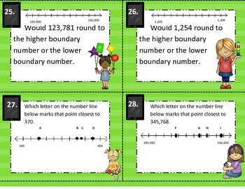 3.2C Using Number Lines to Round or Estimate Computation Task Cards STAAR