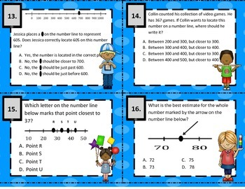 3.2C Using Number Lines to Round or Estimate  Word Problem Task Cards STAAR