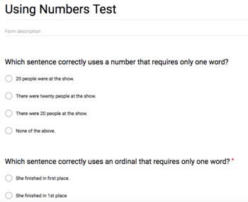 Using Numbers Grammar Test