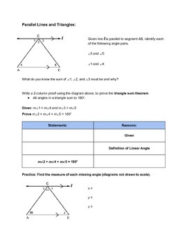 Using Parallel Lines and Triangles to Prove The Triangle S